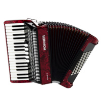 15-A16631S BRAVO III 72 BASS PIANO ACCORDION, W GIG BAG, RED
