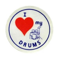"STICKERS Packof10 ""I Love My Drums"""