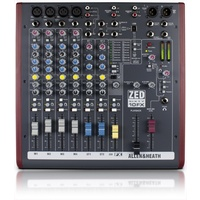 Allen & Heath zed60 4 mono/3 stereo ins, 1 aux, 3-band mid-sweep EQ, LR, USB IO, FX (60mm fader)