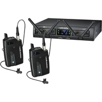 Audio Technica System10 Pro wireless system.  Two RU13 receivers, two BP transmitters, two lapel mics
