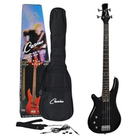 Casino Deluxe Tune-Style Left-Handed Electric Bass Guitar Set (Metallic Black)