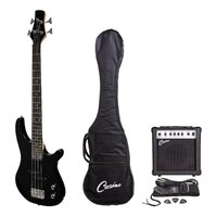 Casino Deluxe Short-Scale Electric Bass Guitar and Amplifier Pack (Black)
