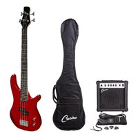Casino Deluxe Short-Scale Electric Bass Guitar and Amplifier Pack (Wine Red)
