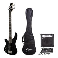 Casino Left-Handed Deluxe Short-Scale Electric Bass Guitar and Amplifier Pack (Black)