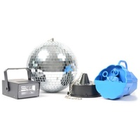 DISCOSETIV Lighting Package including Bubble Machine with Fluid, LED Strobe, Mirror Ball and Motor