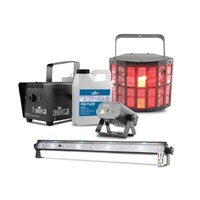 Jam Pack Gold - Package: DERBY Beam, Mini Laser, Small fogger and fluid, UV wash/strobe combo bar