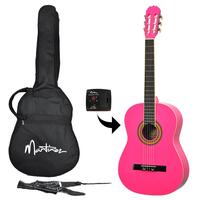 Martinez Full Size Beginner Classical Guitar Pack with Built-In Tuner (Hot Pink)