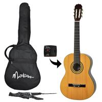 Martinez Full Size Beginner Classical Guitar Pack with Built-In Tuner (Natural Gloss)