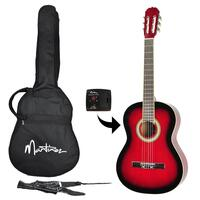 Martinez Full Size Beginner Classical Guitar Pack with Built-In Tuner (Wine Red)