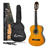 Martinez Beginner 3/4 Size Slim Neck Classical Guitar Pack with Built-in Tuner (Amber)