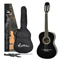 Martinez Beginner 3/4 Size Slim Neck Classical Guitar Pack with Built-in Tuner (Black)