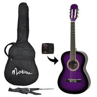 Martinez Beginner 3/4 Size Slim Neck Classical Guitar Pack with Built-in Tuner (Purple)