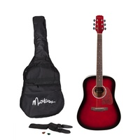 Martinez Beginner Acoustic Dreadnought Guitar Pack (Wine Red)