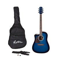Martinez Left-Handed Acoustic-Electric Dreadnought Cutaway Guitar Pack (Blueburst)