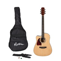Martinez Left-Handed Acoustic-Electric Dreadnought Cutaway Guitar Pack (Natural)