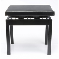 Black piano bench, padded, adjustable height, all metal construction