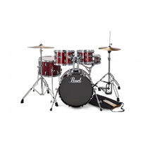Pearl RS JUNIOR 5-PCS DRUM KIT w/HARDWARE & CYMBALS RED WINE