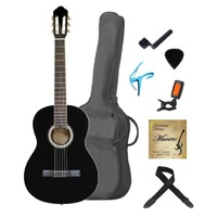 MAESTRO 4/4  Deluxe Guitar Set BLACK Including Bag, Stings, Picks, Capo, Digital Tuner, String Winder and Gift Box