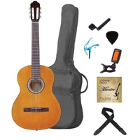 MAESTRO 4/4 Deluxe Guitar Set AMBER Including Bag, Stings, Picks, Capo, Digital Tuner, String Winder and Gift Box
