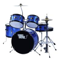 Sonic Drive 5-Piece Junior Drum Kit for Kids (Metallic Blue)