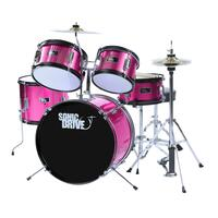 Sonic Drive 5-Piece Junior Drum Kit for Kids (Pink)