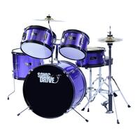 Sonic Drive 5-Piece Junior Drum Kit for Kids (Purple)