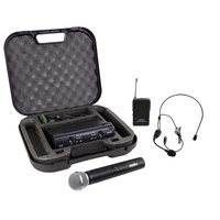 SoundArt SWS-290MLH Dual Channel Wireless Microphone Set with Lapel, Headset & Hand-Held Mics