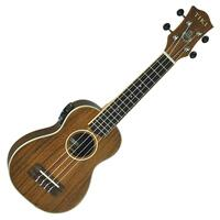 Tiki '3 Series' Koa Wood Top Electric Soprano Ukulele with Gig Bag