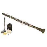 WI-0901CL Wisemann Taurus Clarinet Kit, 17 Keys, Ebonite Body, Nickel Plated Keys, Includes Clarinet Case, Digital Tuner, Table Music Stand
