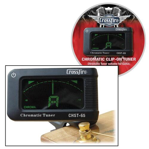 Crossfire Clip-On Tuner for Guitar, Bass, Ukulele & Violin