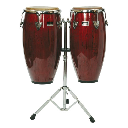 "Drumfire 11""& 12"" Wood Congas with Stand (Wine Red)"